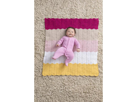 Happy Baby Ripple Afghan in Lion Brand Coboo