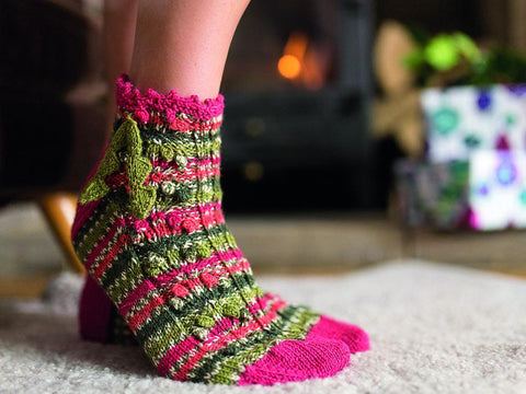 Holly Berry Christmas Socks by Emma Wright in West Yorkshire Spinners Signature 4 Ply