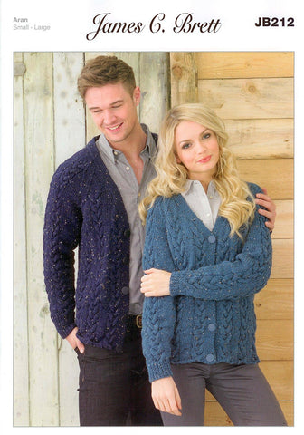 Mens and Ladies Cardigans in James C. Brett Rustic with Wool Aran (JB212)