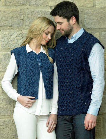 Waistcoat and Slipover in James C. Brett Rustic with Wool Aran (JB364)