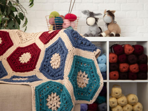 Hexagon Garden Blanket by Jacqui Goulbourn in Stylecraft Life Chunky