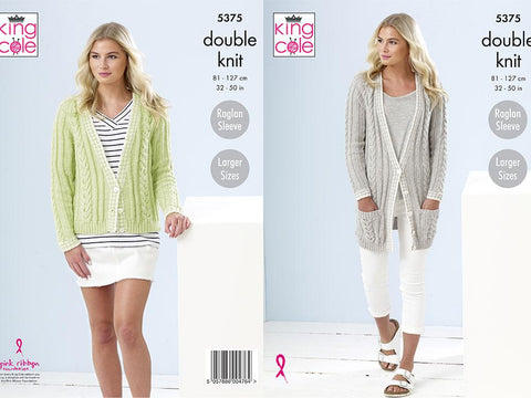 Ladies Cardigans in King Cole Cotton Top DK (5375)