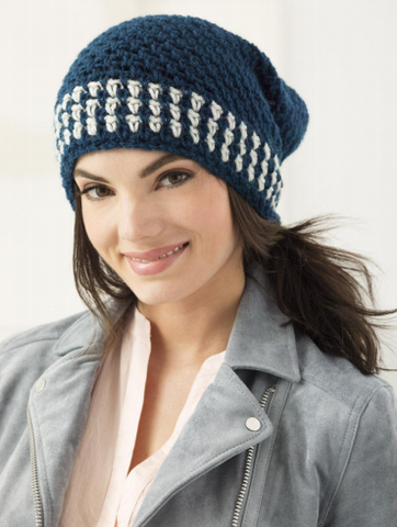 Lion Brand® Vanna's Choice® Two Color Slouch Hat (Crochet) (L60407)