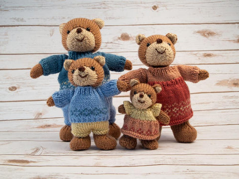 Bear Family by Sachiyo Ishii in Deramores Studio DK Knitting Kit and Pattern