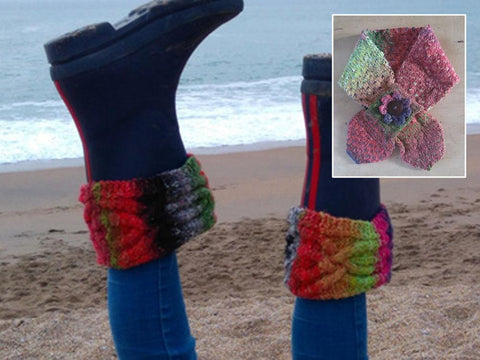 Necktie Scarf & Boot Toppers by Sarah Murray in Cygnet Yarns Boho Spirit