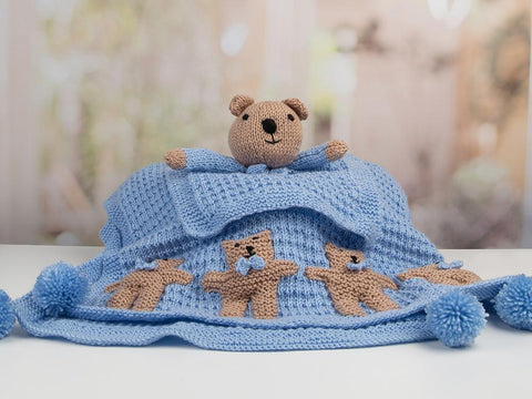 Newborn Baby Boy Set (Teddy) by Nicola Valiji in Deramores Studio Baby Soft DK Knitting Kit and Pattern