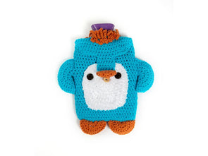 Peter Penguin Hot Water Bottle Cosy by Zoë Potrac in King Cole Chunky