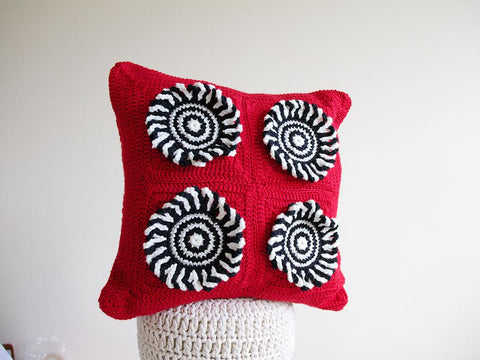 Red Rum Crocheted Cushion by Leonie Morgan in Deramores Studio Aran
