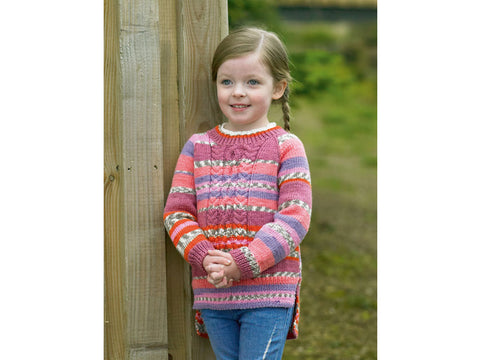 Girls Sweater in James C. Brett Fairground DK (JB486)