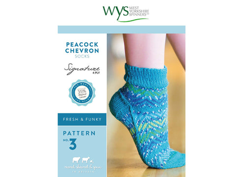 Peacock Chevron Socks in West Yorkshire Spinners Signature 4 Ply - Pattern No. 3