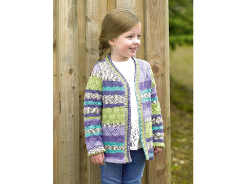 Girls Cardigan in James C. Brett Fairground DK (JB487)