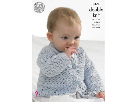 Cardigan, Hooded Gilet, Long and Short Sleeved Sweaters in King Cole DK (3478)