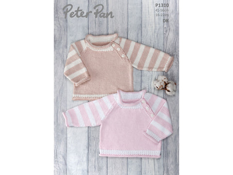Sweater with Striped Sleeves in Peter Pan Baby Cotton DK (1310)