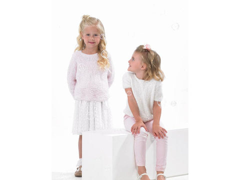 Girls Long Sleeved and Short Sleeved Sweaters in James C. Brett Bubbalicious DK (JB537)