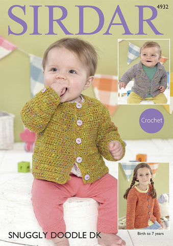 V & Round Collared Neck Jackets in Snuggly Doodle DK (4932S)