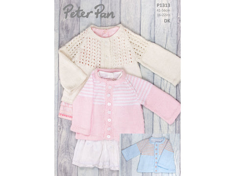 Jacket with Lace or Striped Yoke in Peter Pan Baby Cotton DK (1313)