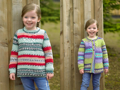 Girls Sweater & Cardigan in James C. Brett Fairground DK (JB488)