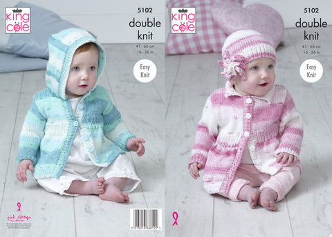 Babies Coats & Hat in King Cole Cottonsoft Baby Crush DK (5102)
