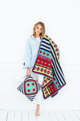 Boho Blanket and Cushion in Life DK & Special DK By Lucia Dunn (9528)