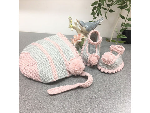 Baby Bonnet and Matching Shoes by Val Pierce in Rico Design Baby Classic DK