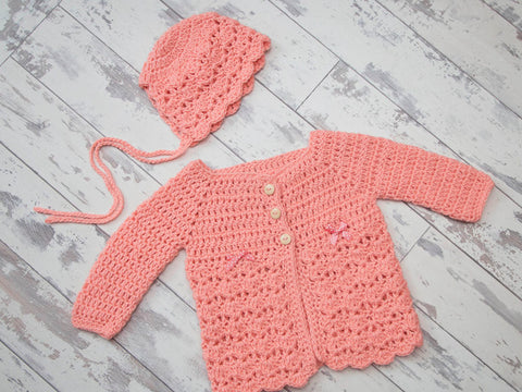 Shells Cardigan and Bonnet in Deramores Studio Baby DK