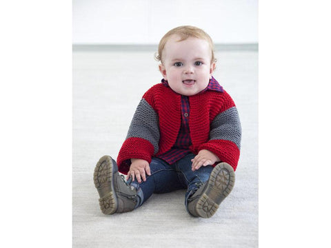 Two Color Baby Cardigan in Lion Brand Feels Like Butta