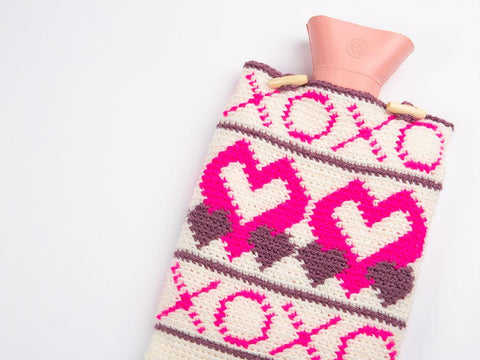 X's & O's Hot Water Bottle Cover by Zoë Potrac in Stylecraft Special DK