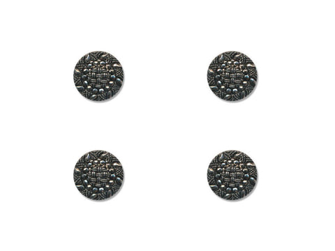 Metal Textured Design Buttons - Silver - 340