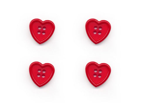 Rimmed Heart Shaped Buttons - Red - 353