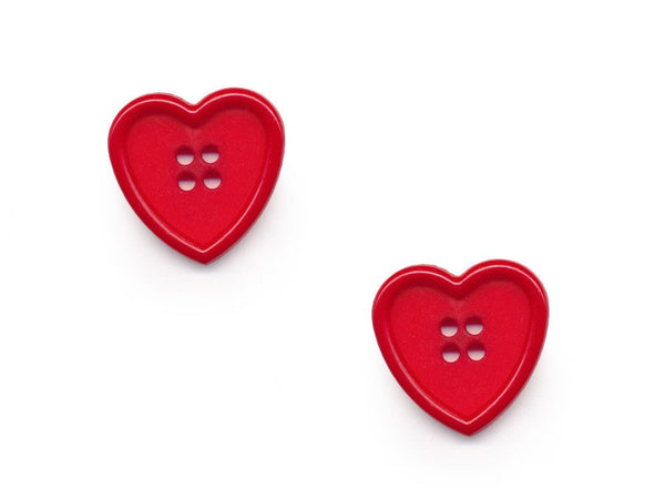Rimmed Heart Shaped Buttons - Red - 354