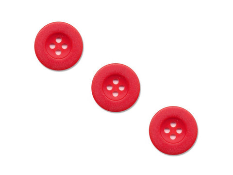 Round Thick Rimmed Buttons - Red - 934
