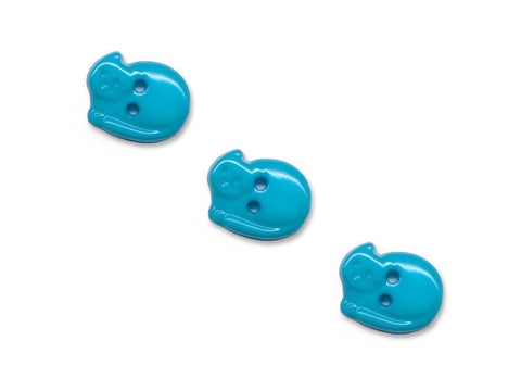 Cat Shaped Buttons - Blue - 942