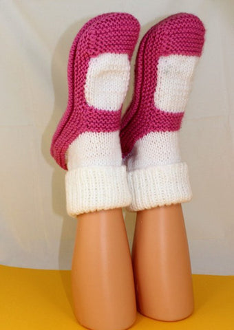 MadMonkeyKnits Adult Chunky Rib Cuff Sock Slippers (1028) - Digital Version