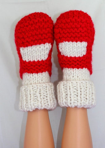 MadMonkeyKnits Adult Super Chunky Rib Cuff Sock Slippers (1035) - Digital Version