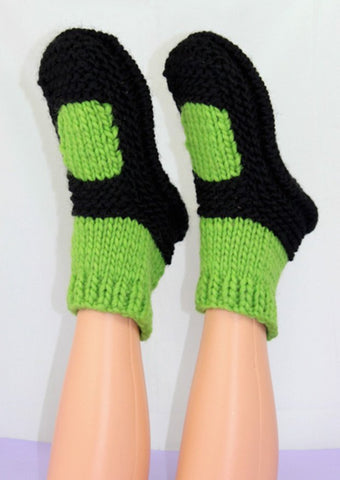 MadMonkeyKnits Adult Superfast Rib Sock Slippers (1031) - Digital Version