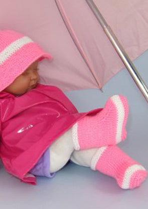 Baby Rain Boots and Rain Hat by MadMonkeyKnits (564) - Digital Version