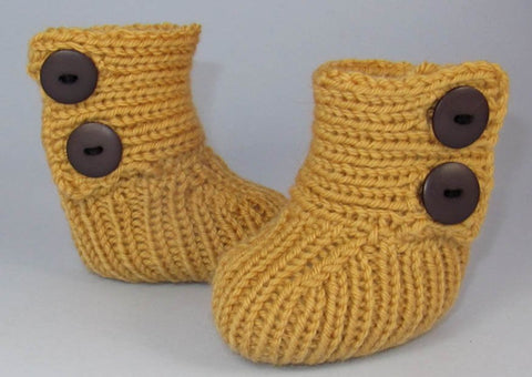 Baby All Rib Button Up Booties by MadMonkeyKnits (554) - Digital Version