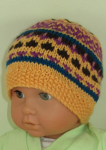 MadMonkeyKnits Baby and Toddler Fairisle Beanie Hat (896) - Digital Version