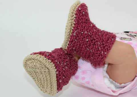 Baby Beaded Booties by MadMonkeyKnits (1060) - Digital Version
