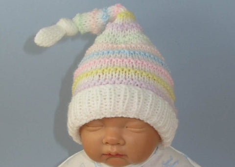 Baby Candy Topknot Stripe Pixie Hat by MadMonkeyKnits (840) - Digital Version