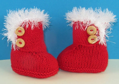 Baby Christmas Snug Boots by MadMonkeyKnits (735) - Digital Version