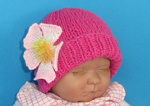 Baby Flower Beanie by MadMonkeyKnits (608) - Digital Version