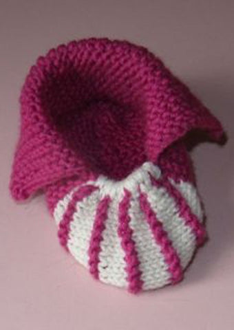 Baby Granny Bobble Stripe Slippers by MadMonkeyKnits (588) - Digital Version