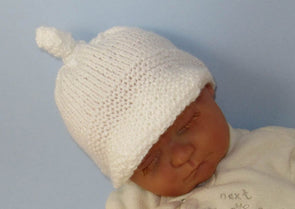 Baby Peak Cap Topknot Beanie Hat by MadMonkeyKnits (829) - Digital Version