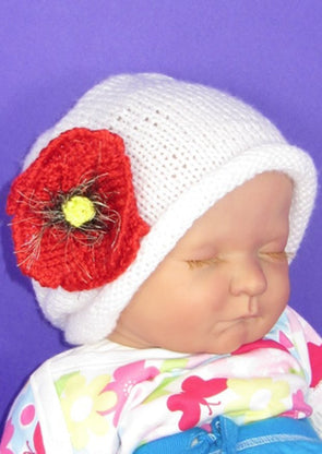 Baby Poppy Flower Slouch Hat by MadMonkeyKnits (607) - Digital Version