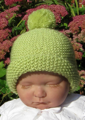 Baby Roll Brim Moss Stitch Bobble Beanie Hat by MadMonkeyKnits (413) - Digital Version