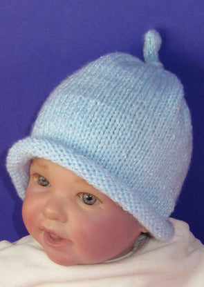Baby Roll Brim Topknot Beanie Hat by MadMonkeyKnits (811) - Digital Version
