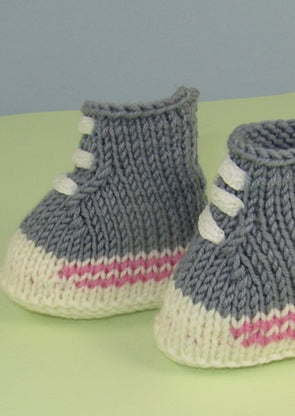 Baby Simply Basketball Booties by MadMonkeyKnits (633) - Digital Version