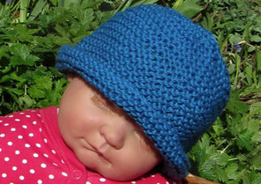 Baby Simple Garter Stitch Roll Brim Beanie by MadMonkeyKnits (70) - Digital Version