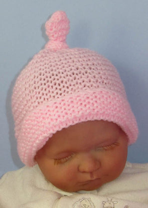Baby Simple Garter Stitch Topknot Beanie by MadMonkeyKnits (816) - Digital Version